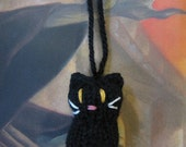 Hand Knit Miniature Halloween Black Kitten Hanging Ornament Decoration - KnitToo