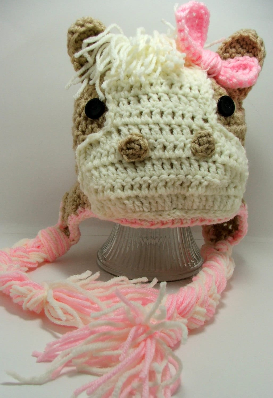 Amigurumi Horse Ears : Crochet horse hat pink animal bead gs on