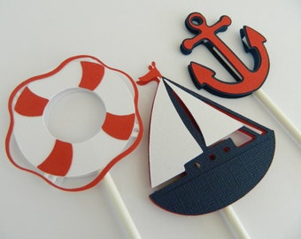 12 (3 Designs) Nautical Cupcake Toppers, Cupcake Toppers, Sailboat Cupcake Toppers, Anchor Cupcake Toppers