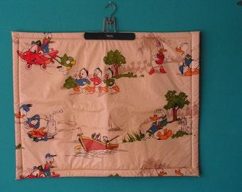 Vintage Beige Baby Play Pen Playpen Mat  design Walt Disney 1970s Donald Duck Daisy Duck and Huey Dewey Louie