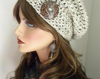 Slouchy Beanie Hat, Oatmeal Tan Slouchy Beanie, Fall Fashion Trend, Winter Hat, Gift for Teen, Boho Fashion, Hand Crocheted Hat.