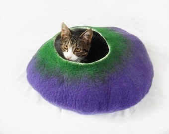 Cat Cave Bed House Felted Wool in purple and green with free ball