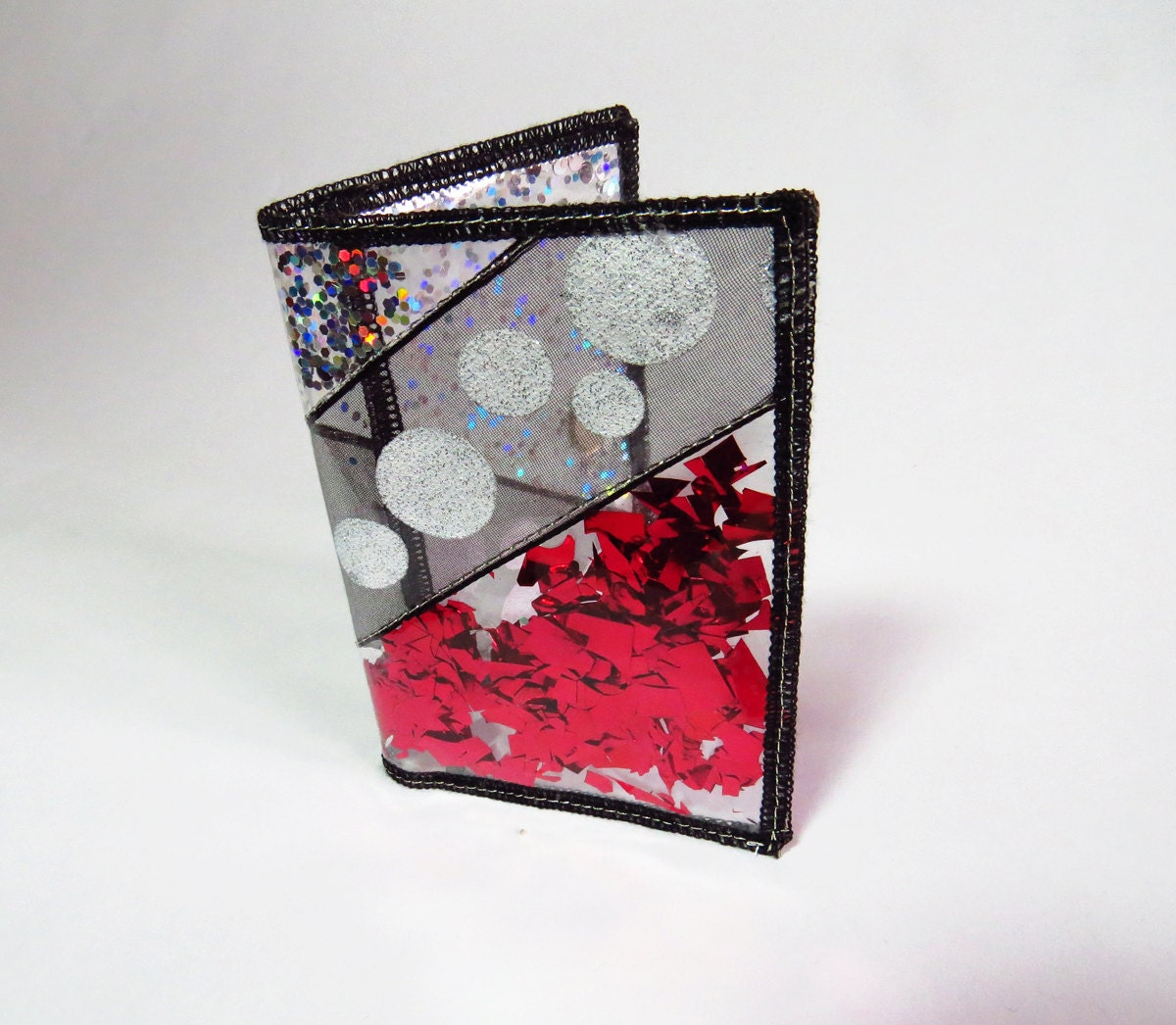 Red Wallet Business Card Holder Holographic Glitter Wallet