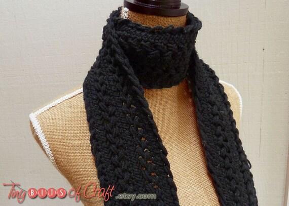Bufanda negra, ganchillo Hairpin Lace, bufanda de las mujeres negras, tejer bufanda para