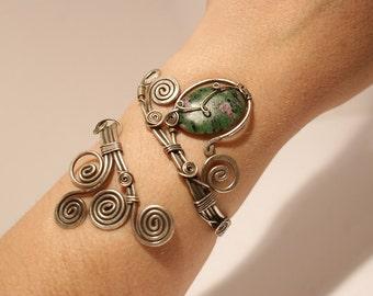 azurite cuff bracelet in handmade-wire wrapped jewelry handmade- bracelet- wire wrap jewelry -  wire wrapped cuff bracelet