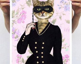 Party Cat: Art Poster Art Print Digital Art Original Illustration Giclee Print Wall art Wall Hanging Wall Decor Animal Painting