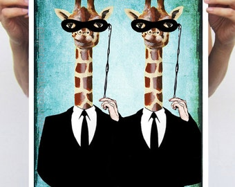 Party Giraffes: Art Poster Digital Art Original Illustration Giclee Print Wall art Wall Hanging Wall Decor Animal Painting
