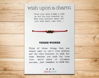THREE WISHES - Wish Bracelet - Antique Gold - Hemp Cord - Choose Your Own Color