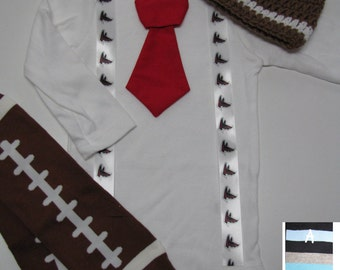 ATLANTA FALCONS inspired football outfit for baby boy - tie bodysuit with suspenders, crochet hat, leg warmers
