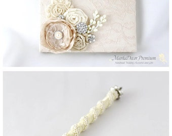 Wedding Lace Guest Book Custom Bridal Flower Brooch Guest Books and Pen in Champagne, Ivory and Tan