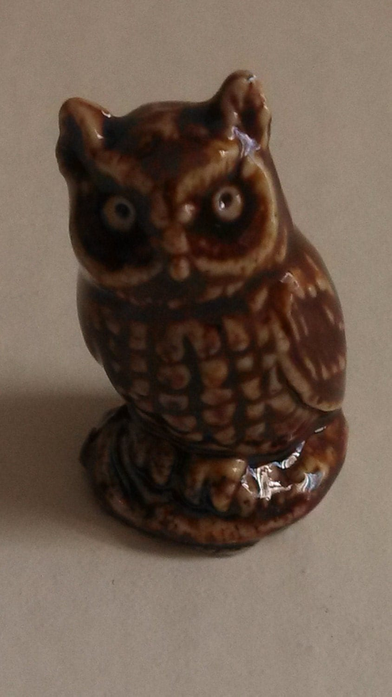 Rare Wade Whimsie Owl / Red Rose Tea Owl / porcelain figurines