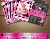 HUGE SELECTION Pink Chevron Minnie Mouse Birthday Invitation, Printable Birthday Invitation, First Birthday Invitations, DIY Minnie Mouse