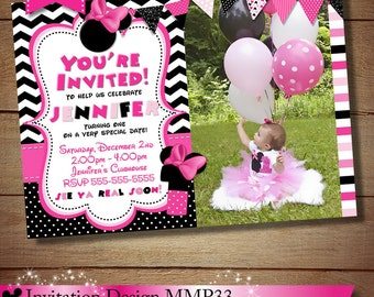 HUGE SELECTION Black Chevron Minnie Mouse Invitation, Pink Minnie Mouse Birthday Invitation, Minnie Mouse Printables, The Printable Occasion