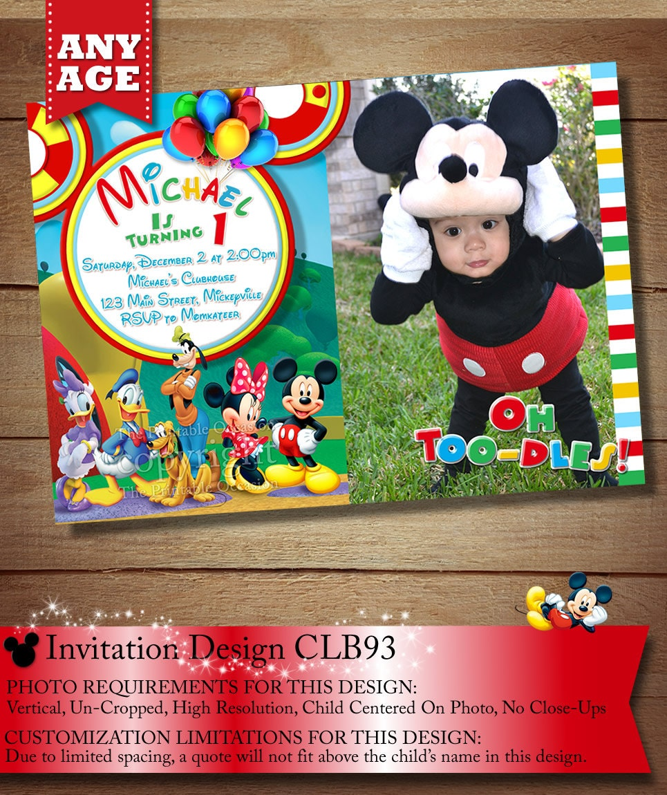 YOU CHOOSE Mickey Mouse Birthday Invitation Clubhouse Mickey