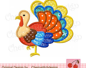 Turkey Thanksgiving Turkey Machine Embroidery Applique Design 06  -4x4 5x5 6x6""