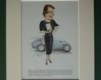 1956 Vintage Print Of Kay Petre - Ralph Sallon Caricature - Motor Racing - Grand Prix - 1950s - Formula One - Woman Driver - Motorsport