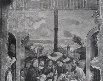 1898 Large Antique Print Of The Domenico Ghirlandaio Fresco In Ognissanti - Renaissance Art Print - Antique Art - Florence - Victorian