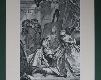 1882 Antique Print Of A Scene From Le Sicilien By Moliere Illustrated By Francois Boucher - Rococo Art Print - Antique Art - Pretty Girl