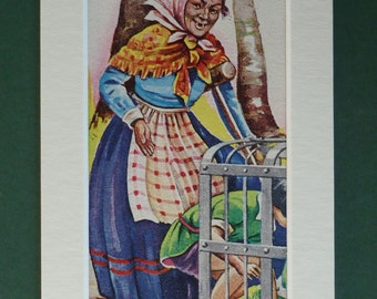 1950s Vintage Hansel & Gretel Print - Fairytale - Children's Illustration - Colourful - Colorful - Kitsch - Retro - Wicked Witch - Cage