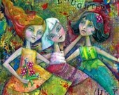 Friendship: An Exuberant Colorful Mixed Media Painting celebrating the Joy of Girl Friends