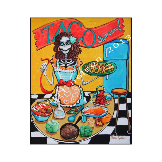 day of the dead painting kitchen catrina taco supremo mexican