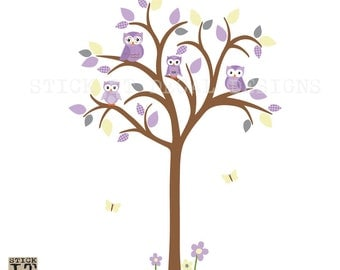 Owl tree wall decal, Owl tree wall sticker, Owl Nursery wall Art, owl wall decal, nursery wall decal, Tree Wall Decal, Molly Design