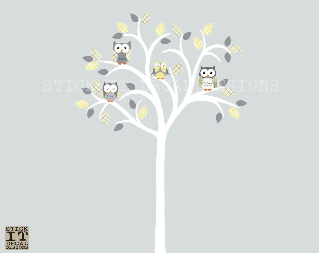 owl tree decal owl tree wall sticker owl by stickitdecaldesigns