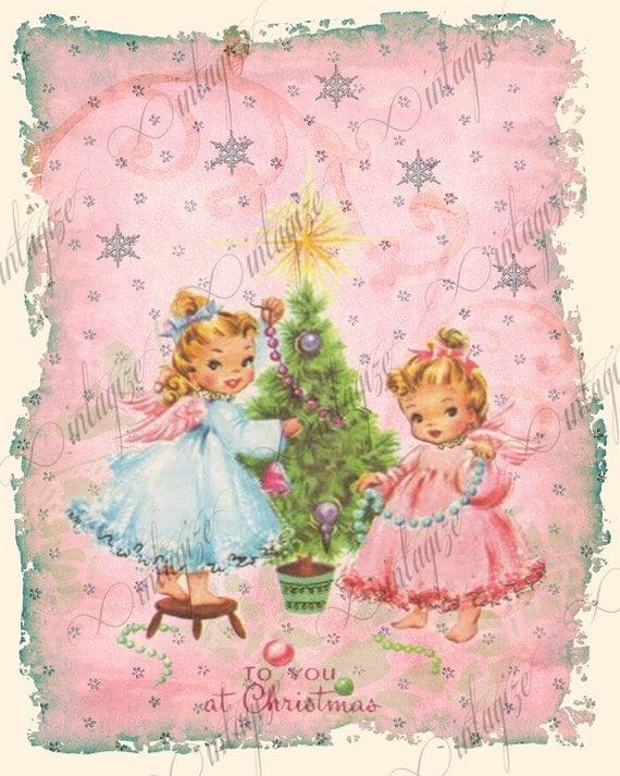 Christmas Angel Printable Vintage Shabby Chic PINK Christmas Angels ...