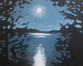 ATC moonlight on the lake miniature painting original art - paintedandjeweled