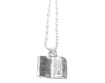 Silver-plated Book Necklace