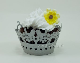 Lovebirds Silver Grey Shimmer Elegant Wedding Laser Cut Lace Cupcake / Muffin  Wrappers - (set of 12)