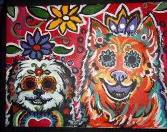 Custom Pet Portrait /Day of the Dead Pet portrait/ Folk Pet portrait/Folk Art/ Pet Portraits of YOUR pet from photograph