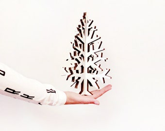 White cardboard Christmas tree kit  XS size DIY home decoration, also for kids