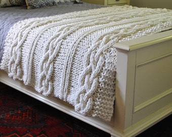 IN STOCK SALE:  Chunky Cable Knit Blanket in Cream Irish Cabled Wool Hand Knitted Blanket 1803.101