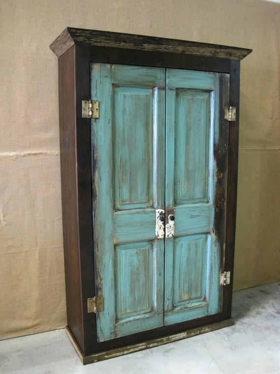 Oversized Reclaimed Wood Storage Armoire / Wardrobe- Dark Brown with  Turquoise Doors - Oversized Reclaimed Wood Storage Armoire / Wardrobe Dark