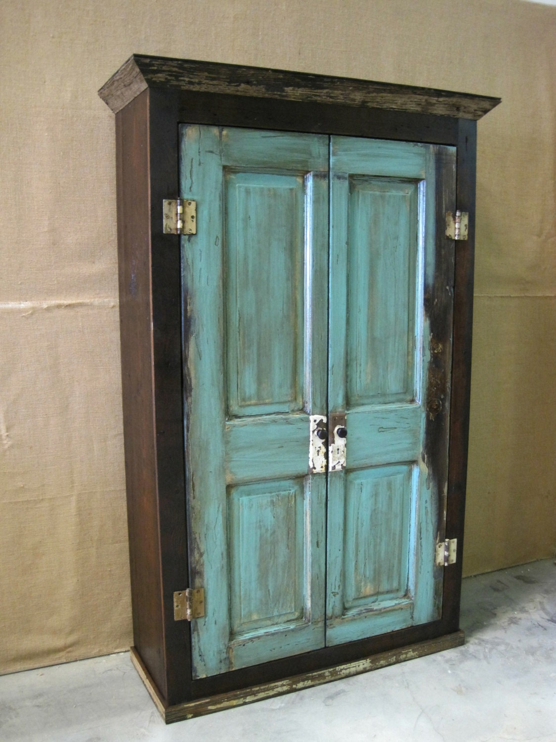 Oversized Reclaimed Wood Storage Armoire Wardrobe Dark