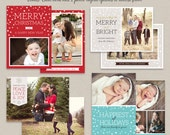 50% SALE Digital Photoshop Christmas Card Template for photographers Set of 4 PSD Flat card CS002