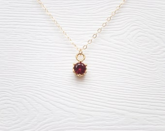 Ruby CZ Necklace - 14K Gold Filled Chain
