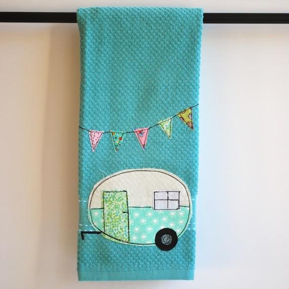 Tea Towels Pillow Talk: Vintage Camper Trailer Dish Towel