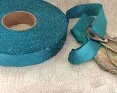 dark aqua turquoise blue dupioni silk ribbon