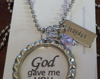 God gave me you - bottlecap pendant with personalized hand stamped tag