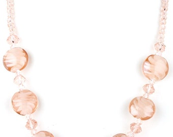 Peach Beaded Murano Glass and Crystal Fashion Necklace
