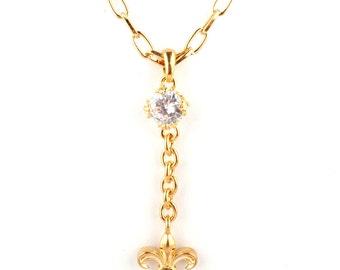 Fleur de lis and crystal gem hanging necklace- silver or gold