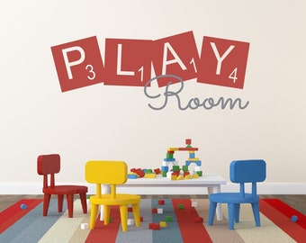 Play Room Wall Decal Childrens Wall Decal Vinyl Wall Quote Kids Play Room Decal Vinyl Lettering Playroom Decor