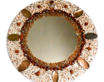 Round Wall Mirror - Upcycled - Decorative - Mosaic Jewelry - Mosaic Mirror