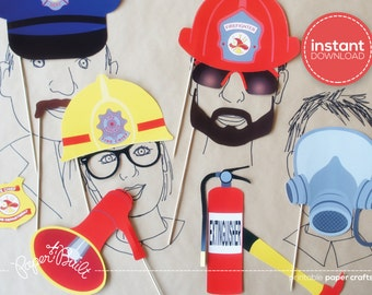 Firetruck Birthday Photo Booth Props - Fireman Birthday, Fireman Wedding, Fireman Party, Photobooth, Firefighter, Fireman, Firetruck Party