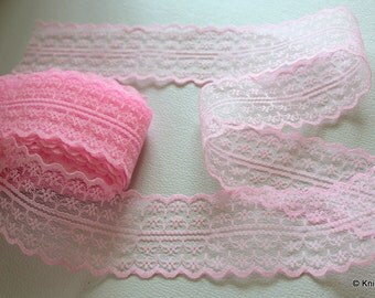 Pink Embroidered Net Lace Trim Ribbon 40mm wide
