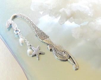 Mermaid Pearl and Shell Bookmark, Starfish Bookmark, Sealife Bookmark, Little Mermaid, Metal Bookmark, Charm Bookmark. A376