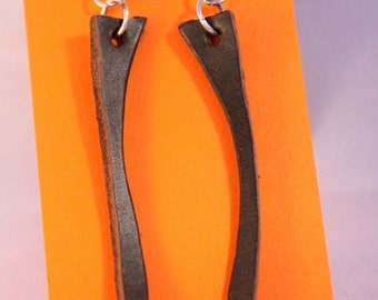 Original Long Brown Leather Earrings
