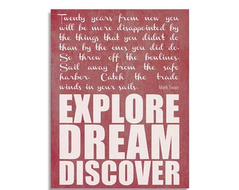 Explore Dream Discover -- Inspirational Mark Twain travel quote wall art print red 8 1/2 x 11 in - Original design